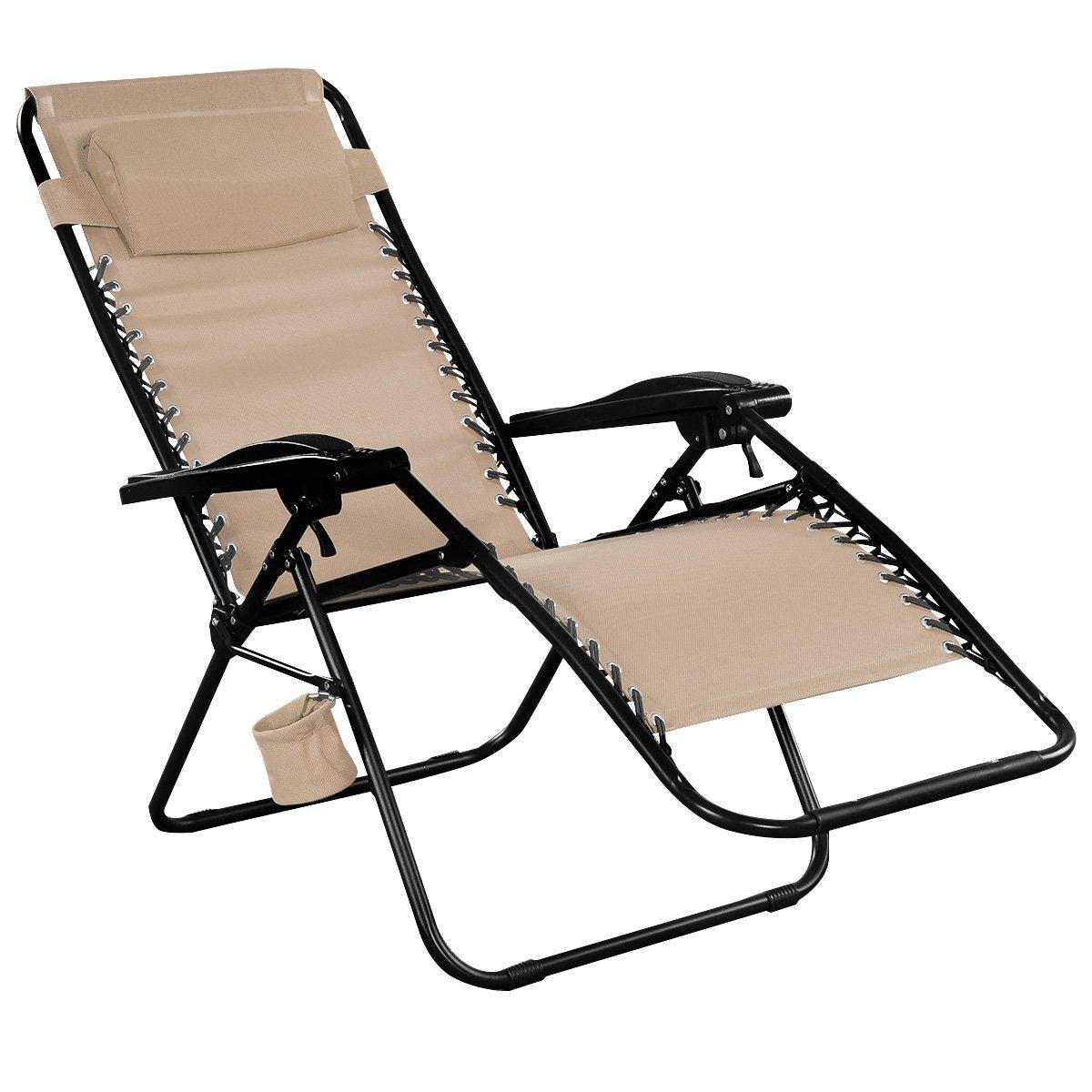 Giantex Light Brown Folding Zero Gravity Reclining Lounge Chairs Outdoor Beach Patio Yard New