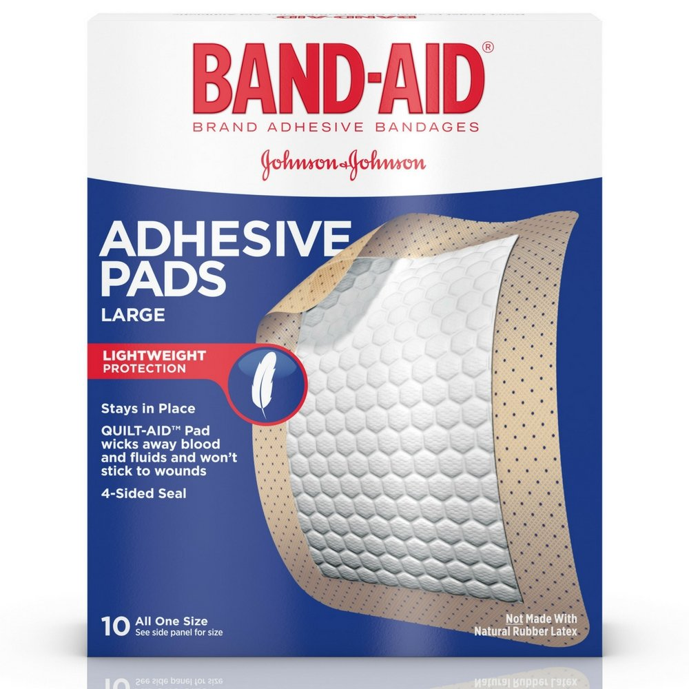 Band-Aid Brand Tru-Stay Adhesive Pads, Large Sterile Bandages for Wound Care, Large Size, 10 ct by Band-Aid