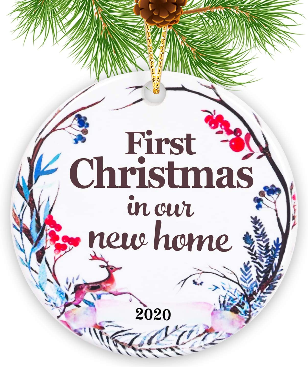 Touber 2020 Christmas Ornaments/Ceramics Christmas Tree Ornaments (First Christmas in Our New Home 2020)