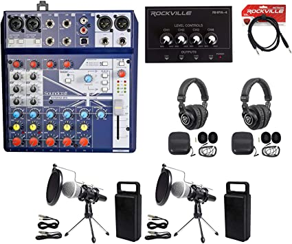Podcast Podcasting Recording Soundcraft Mixer+Headphones+Mic+Stand