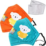 2PCS Kids Reusable Mouth Cover With activated carbon filter,adjustable size
