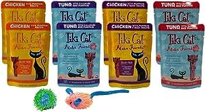 Tiki Cat Aloha Friends Grain Free Chicken Tuna Pumpkin Cat Food 4 Flavor Variety 8 Pouch with 2 Catnip Toys Bundle, (2) Each: Chicken, Tuna Calamari, Chicken Duck, Tuna Shrimp (2.5 Ounces)