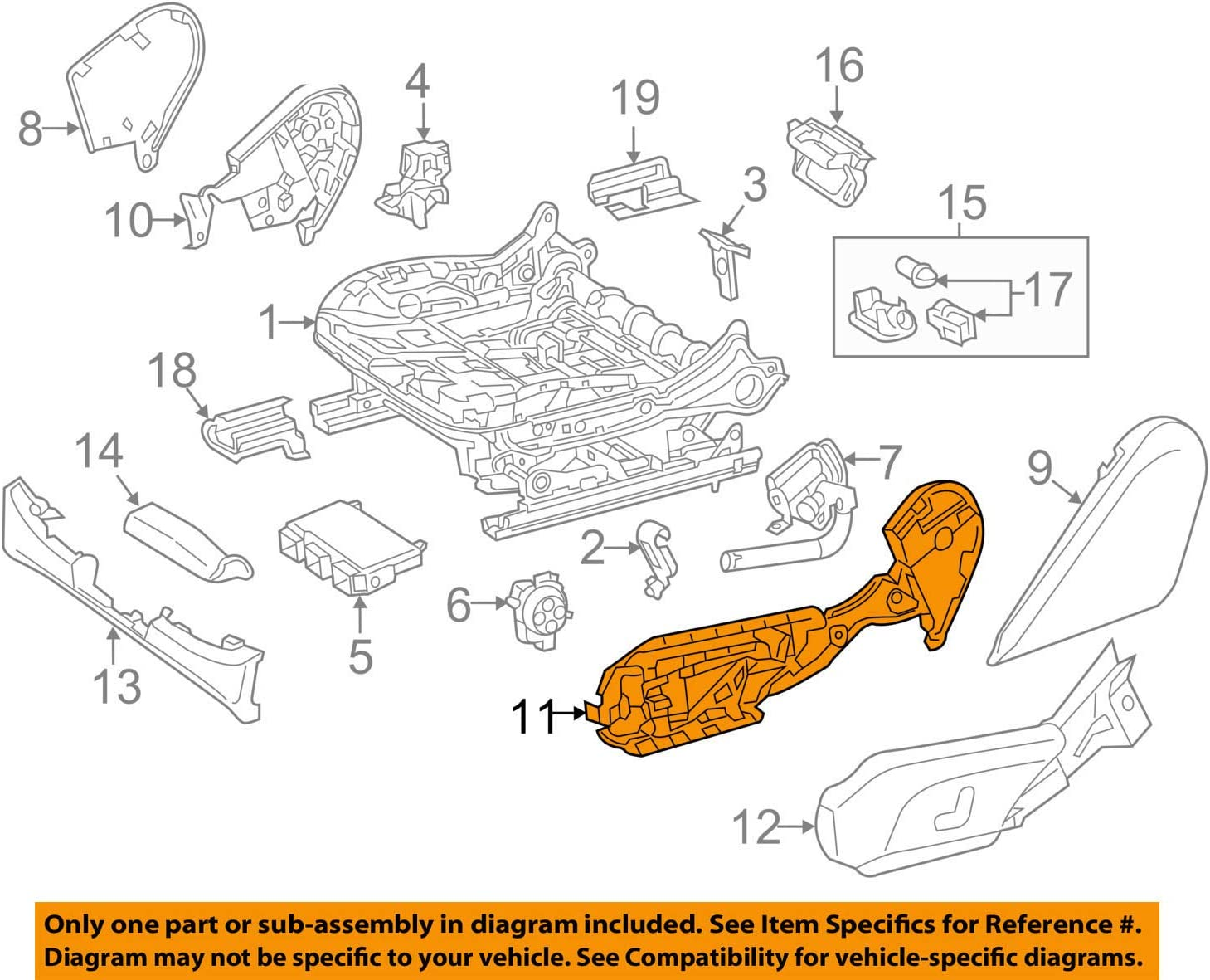 Mercedes Benz Genuine Recline Cover Reinforcement 205-918-00-16-9051