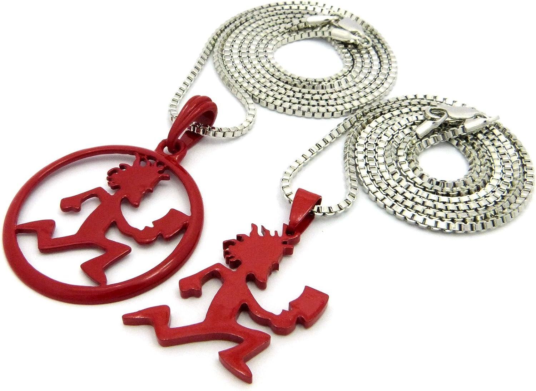 Crescendo SJ Hatchet Man Runnder Pendant 2mm//20 /& 24 Box Chain Necklace Set RC1366