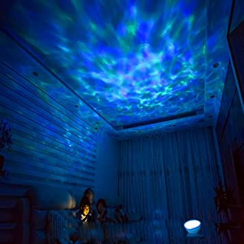 Beautiful [Wall Adapter Included] Remote Control Ocean Wave LED Projector Night Light  With 7 Colorful