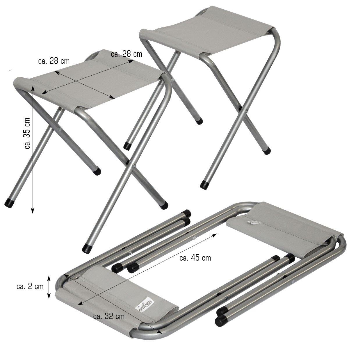 AMANKA Table de Camping Pliable r/églable en Hauteur 120x60x70cm INCL 4 Tabourets pliants Format Mallette Gris Fonc/é