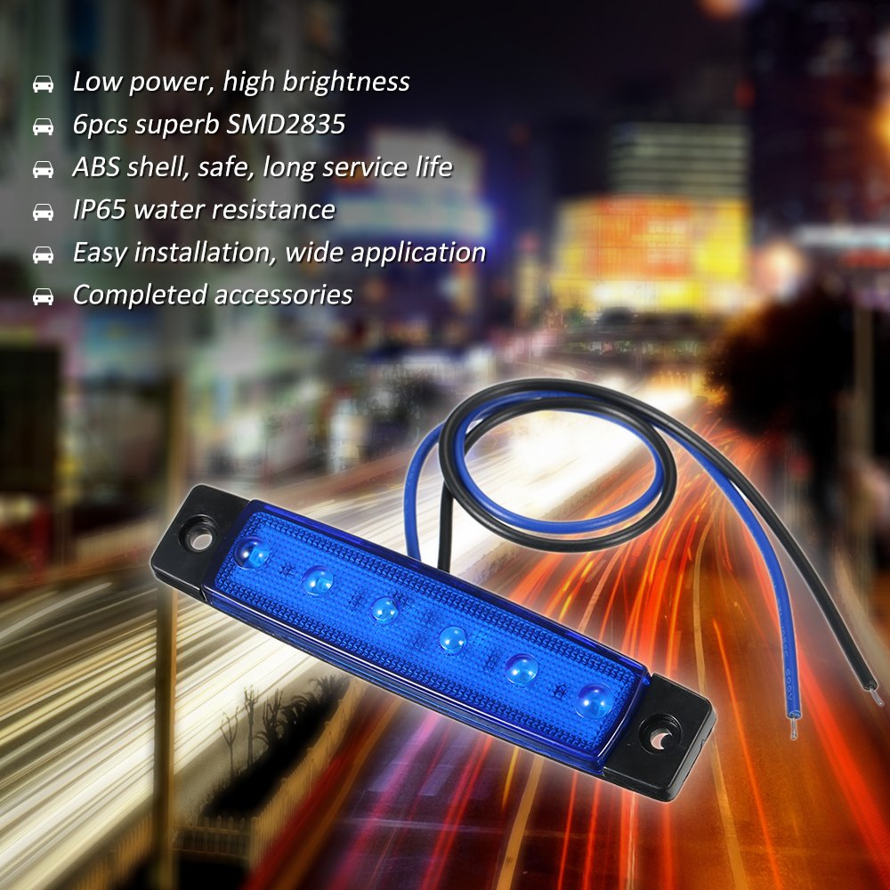 24V 6 LED L/ámpara de luz indicadora Lateral Marcador Luz SMD2835 IP65 Resistencia al Agua para cami/ón Remolque Autob/ús RV Festnight DC12V