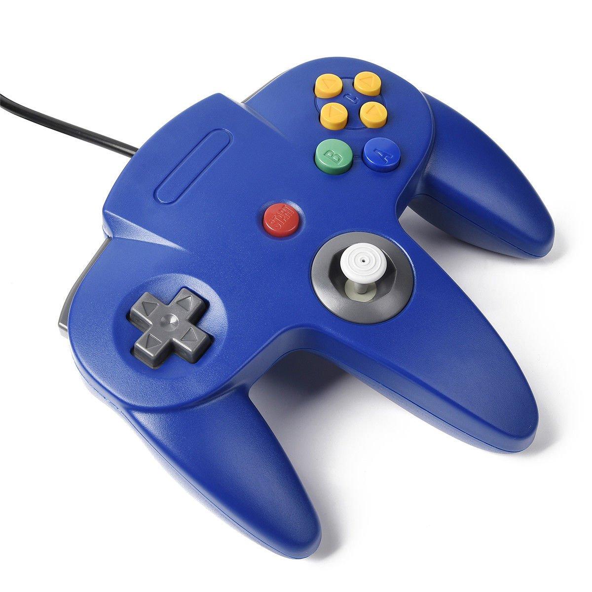 iNNEXT Classic Retro N64 Bit USB Wired Controller for Windows PC MAC Linux Raspberry Pi 3 Blue