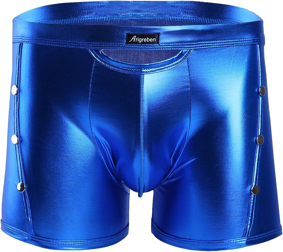 MSemis Men's Wetlook Bikini Swim Trunks Swimsuit Side Rivets Metallic Pouch Boxer Shorts Briefs Underwear