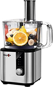 Food Processor, MAGICCOS 8 Cup Food Processors Vegetable Chopper, 5 Variable Speeds & Pulse,Stainless Steel,7-in-1 Accessories for Chopping, kneading, slicing,fine/coarse grating,emulsifying & juicing