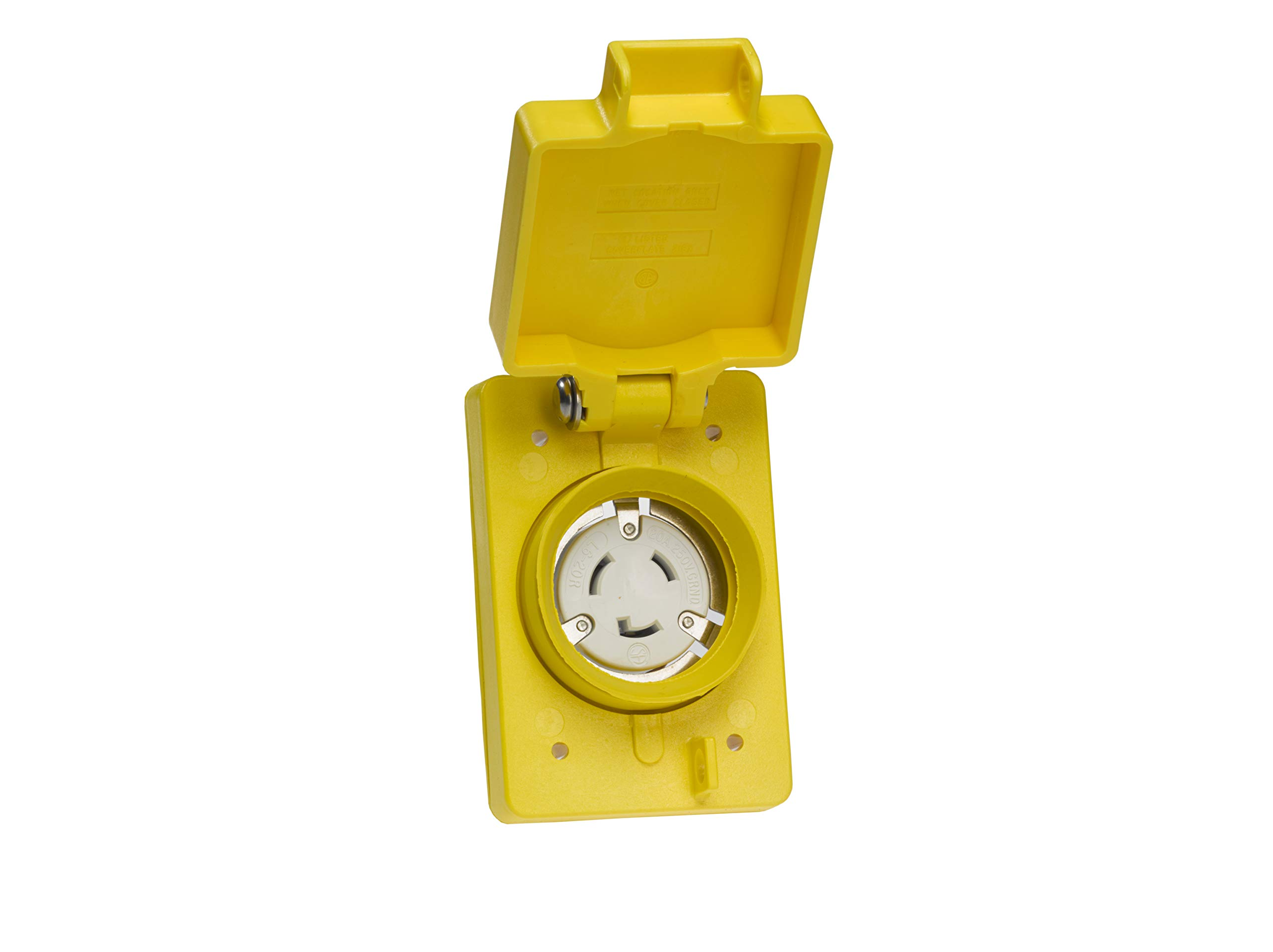 Woodhead 67W48 Watertite Wet Location Locking Blade Receptacle - Yellow, 2Pole/3Wire Single Flip Lid Receptacle with NEMA L6-20 Configuration, 20A/250V by Woodhead (Image #2)