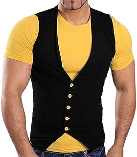 Tazzio T-shirt manches courtes été Contraste Gilet avec chemise t-shirt  noir  2444d9e2f9b2
