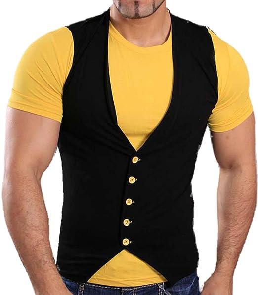 99fa6e5874e19a Tazzio Herren Kurzarm Sommer Kontrast Weste mit T-Shirt Hemd Schwarz Gelb T-