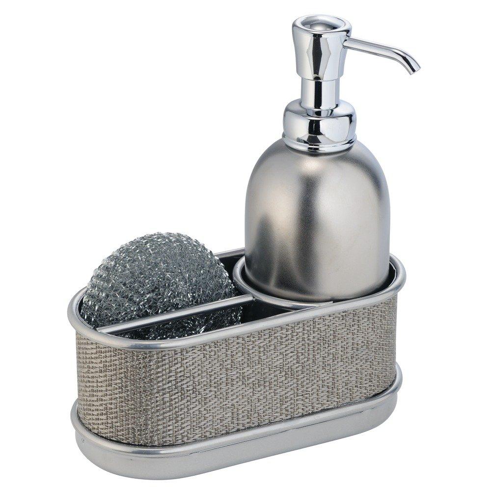 InterDesign Twillo Soap Dispenser and Sponge Holder, Metal Sink ...