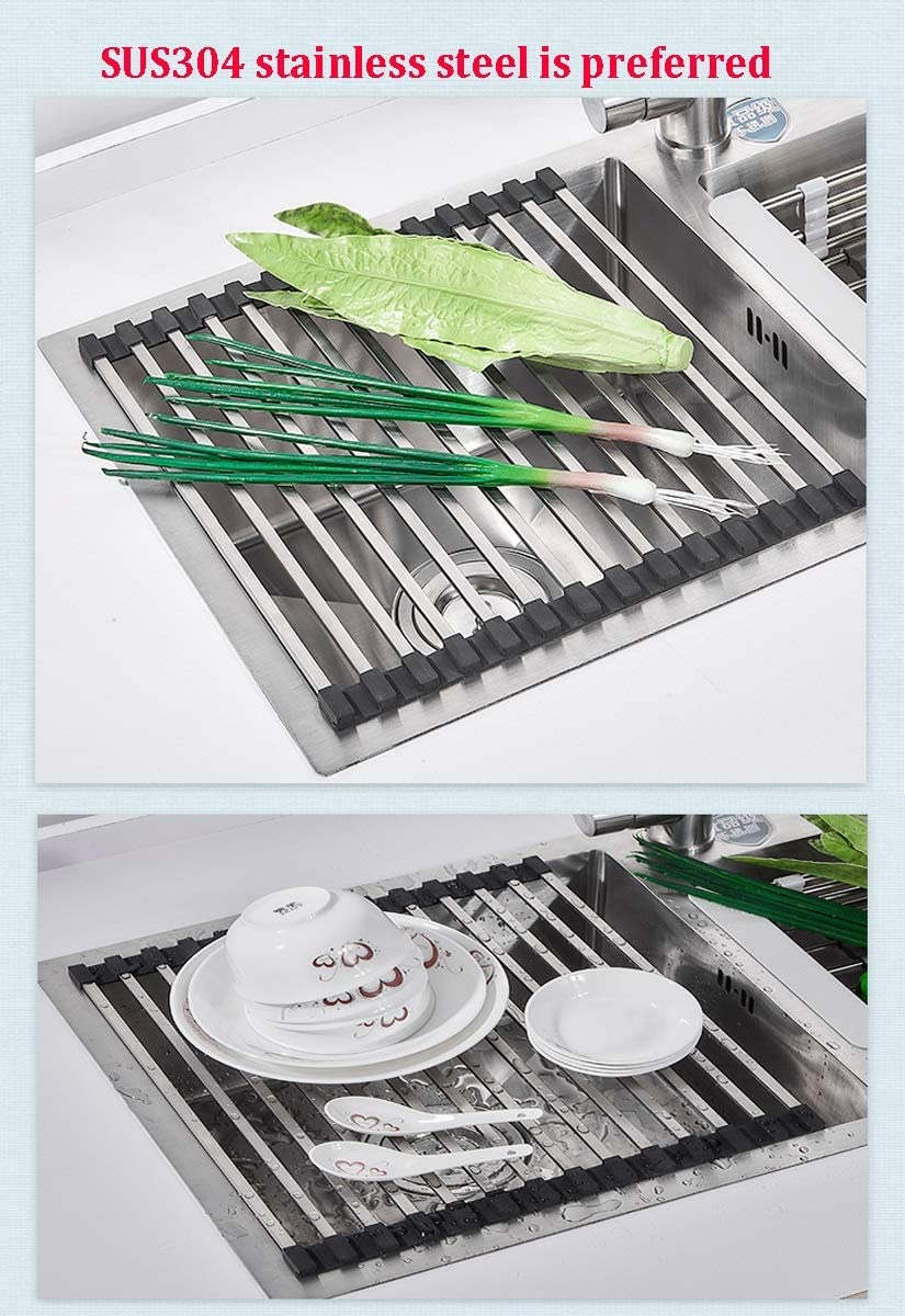 Color : Tobes - 16, Size : 60x33cm Roll-up Dish Drying Rack 43x33cm Foldable Square Tubes Stainless Still Over The Sink Dish Rack Roll Up Dish Drainers for Kitchen Sink Counter Color:Tobes - 12
