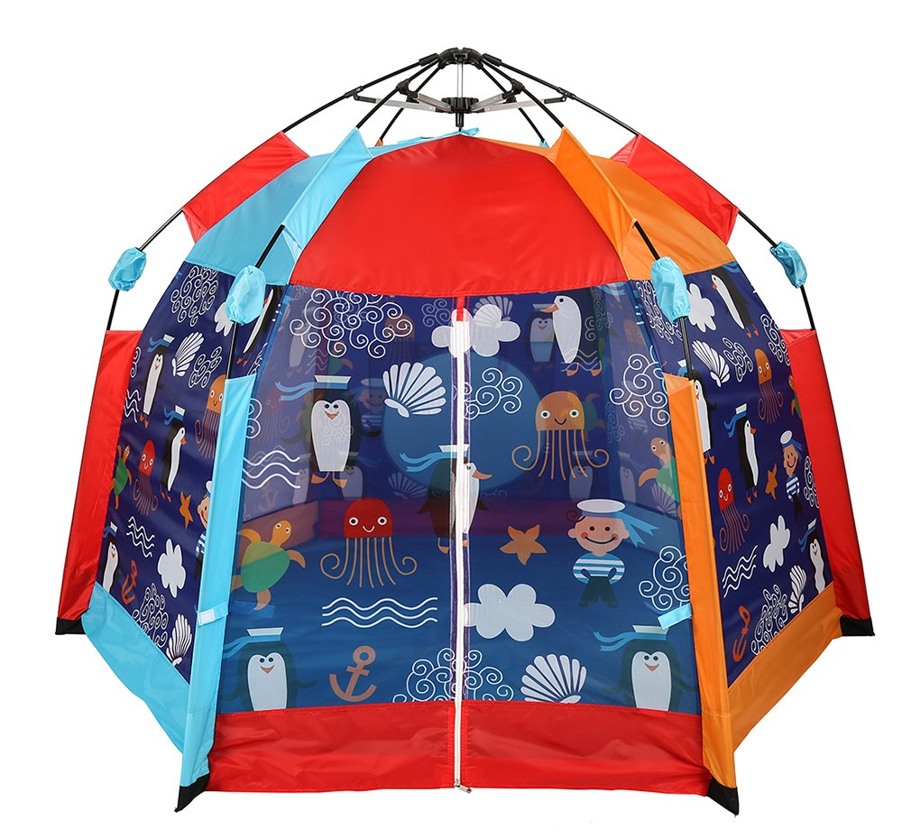 UTEX Automatic Instant 6 Kids Play Tent for Indoor/ Outdoor Fun,Kids Beach Tent Sun Shelter with Zippered Mesh Front, Camping Playhouse Indoor Playground, 66'' x 66'' x 44''(Sea Cabana) by UTEX (Image #2)