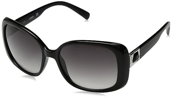 09fb2485e5 Amazon.com  GUESS Women s Acetate Square Sunglasses BLK-35 58 mm ...