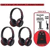 SIMOLIO 3 Pack of DVD Wireless Headphones with Storage Bag, Durable Car Kids IR Headphones Wireless for Car…