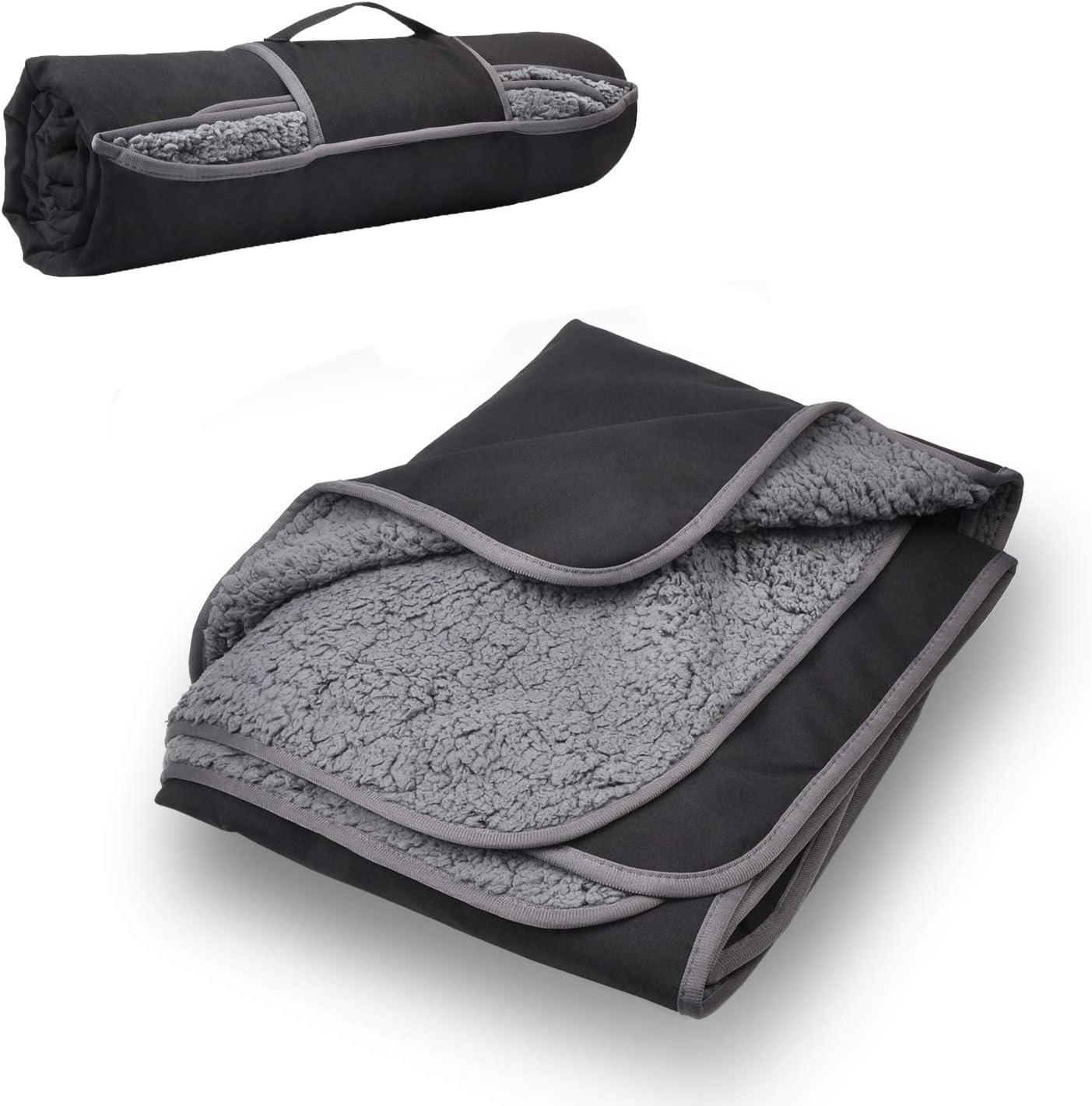 "Tirrinia Outdoors Waterproof Throw Blanket, 59""x 79"" Sherpa Fleece Stadium Windproof Mat for Traveling, Camping, Hiking, Football - Machine Washable"