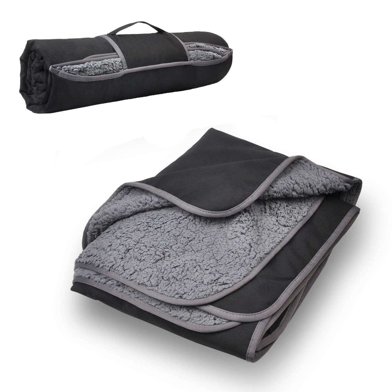 Tirrinia Outdoors Waterproof Throw Blanket, 51''x 59'' Sherpa Fleece Stadium Windproof Mat for Traveling, Camping, Hiking, Football - Machine Washable