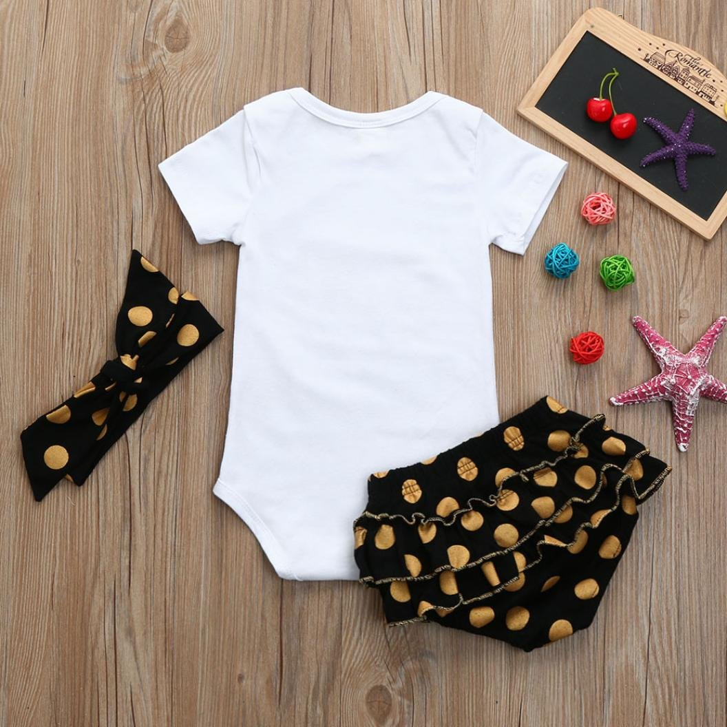 3Pcs Infant Baby Girls Clothes Letter Short Sleeve Romper Tops+Sequined Shorts Briefs Headband Outfits Set 0-2T