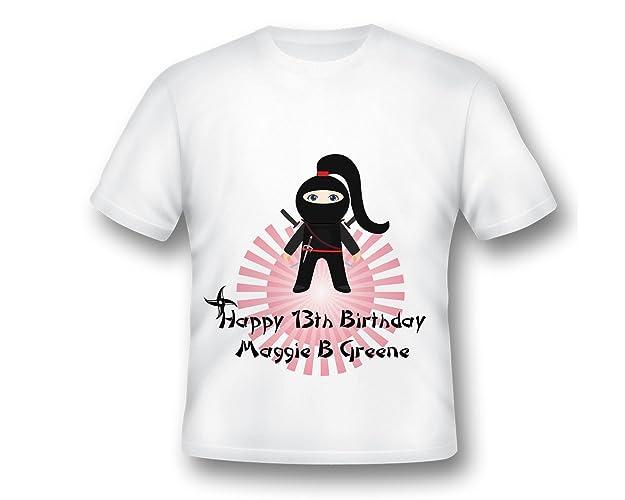 522ddb36644cf Amazon.com: Personalized Girl Ninja Shirt, Ninja Birthday, Girls ...