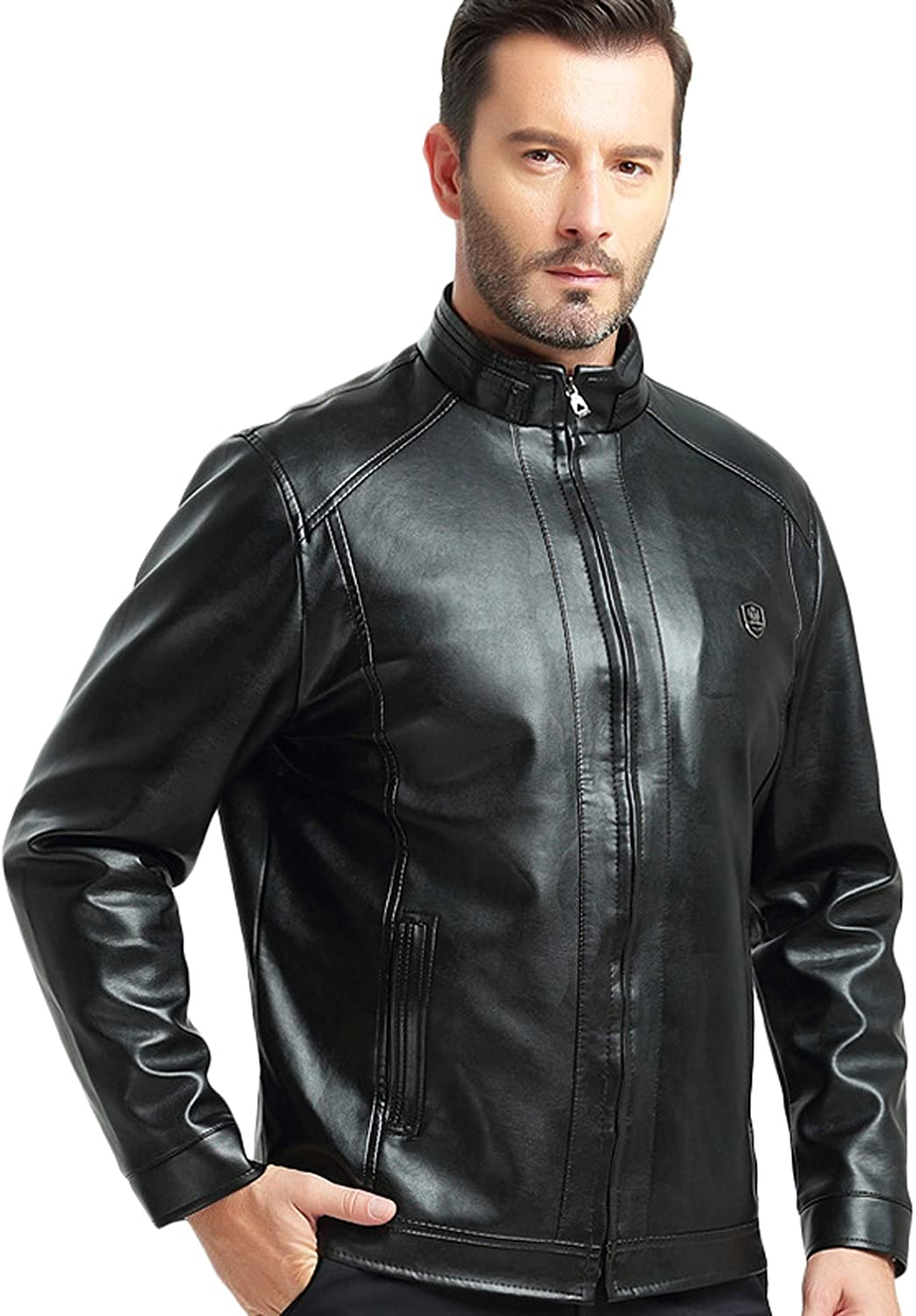 Youhan Mens Casual Fleece Lined PU Faux Leather Jacket