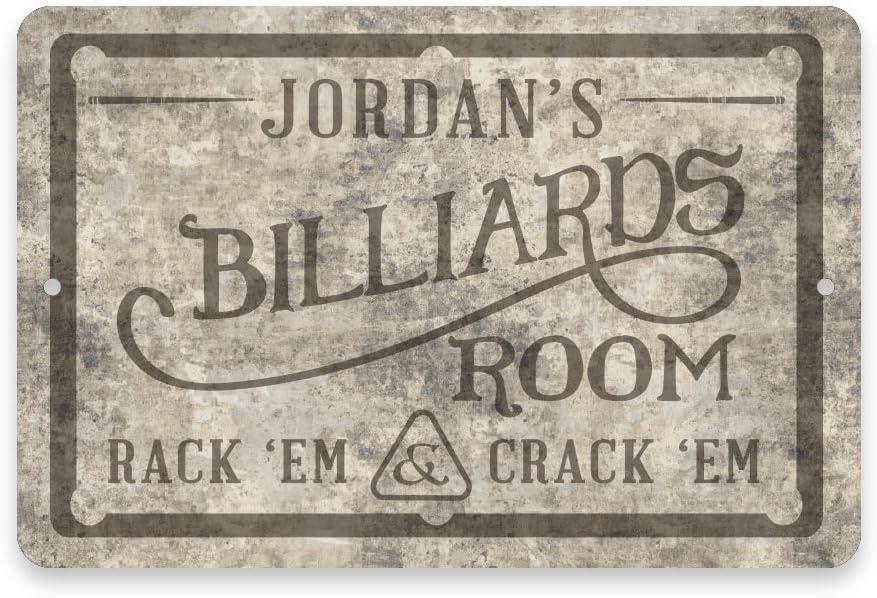 Pattern Pop Personalized Concrete Grunge Billiards Room Metal Room Sign
