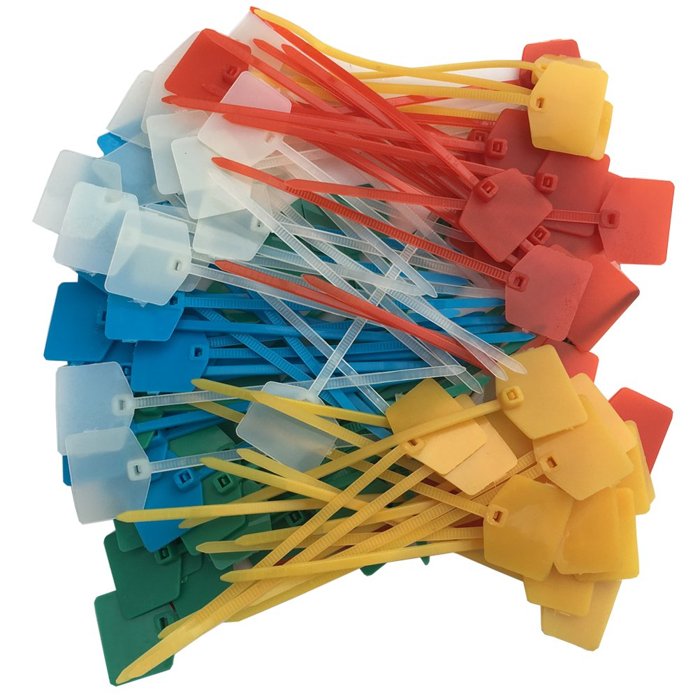 Huouo 100 Pcs 5 Colors Nylon Cable Marker Ties Self-locking Cord Tags 5 inches Write on Ethernet Label Wire Straps