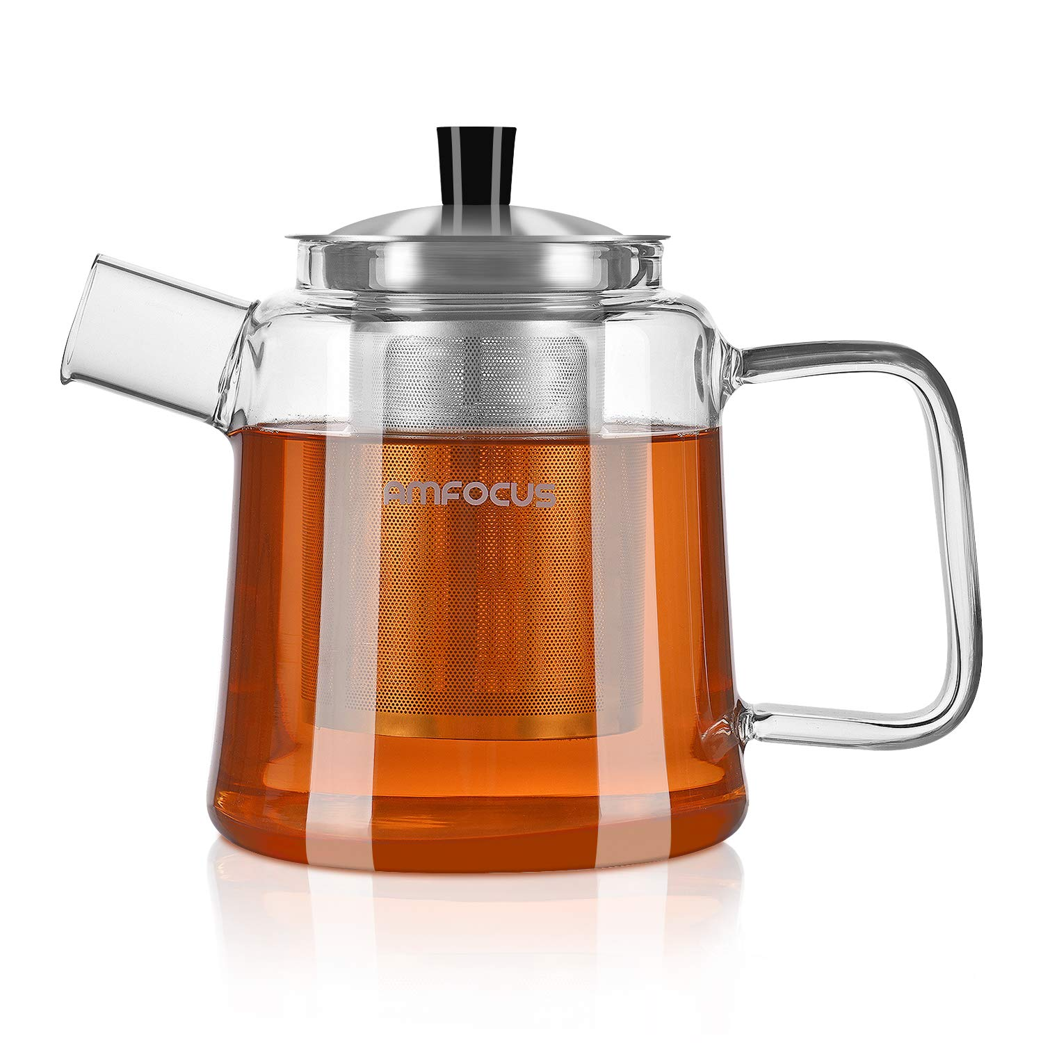 Glass Teapot with Infuser, Blooming and Loose Leaf Tea Pot Tea Maker Stainless Steel Infuser - Stovetop Safe AMFOCUS Z-1
