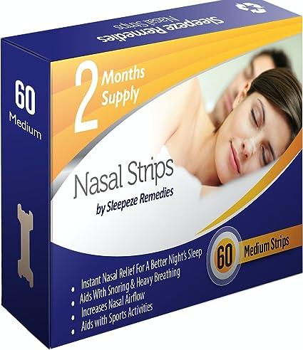 Tiras nasales mediana x60 | Dilatador nasal Sleepeze Remedies® para dejar de roncar y ayudar ...