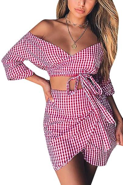 Vepodrau Mujer 2 Piezas Off Shoulder Top Camisa Y Falda Asimetrica.: Amazon.es: Ropa y accesorios