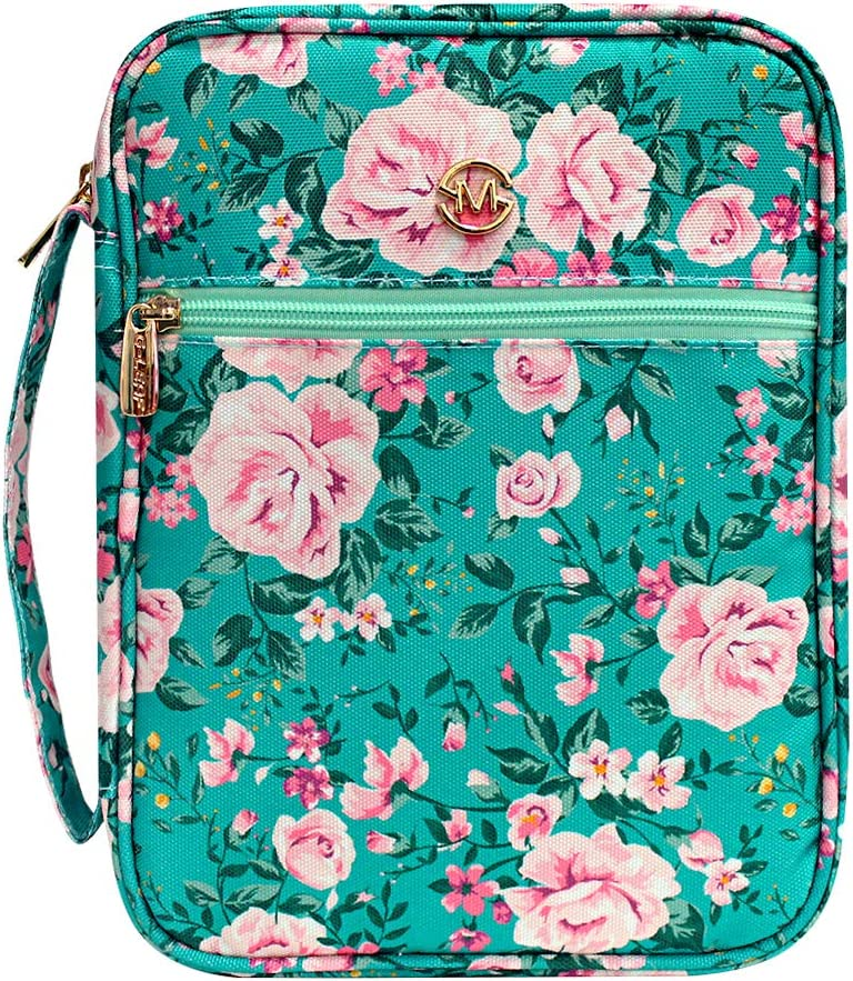 """G-LEAF Bible Cover Case/Book Cover Floral Pattern with Handle Fits for Standard Size Bible, 10x7.5x2.5"""" - for Mom Gift for Daughter"""