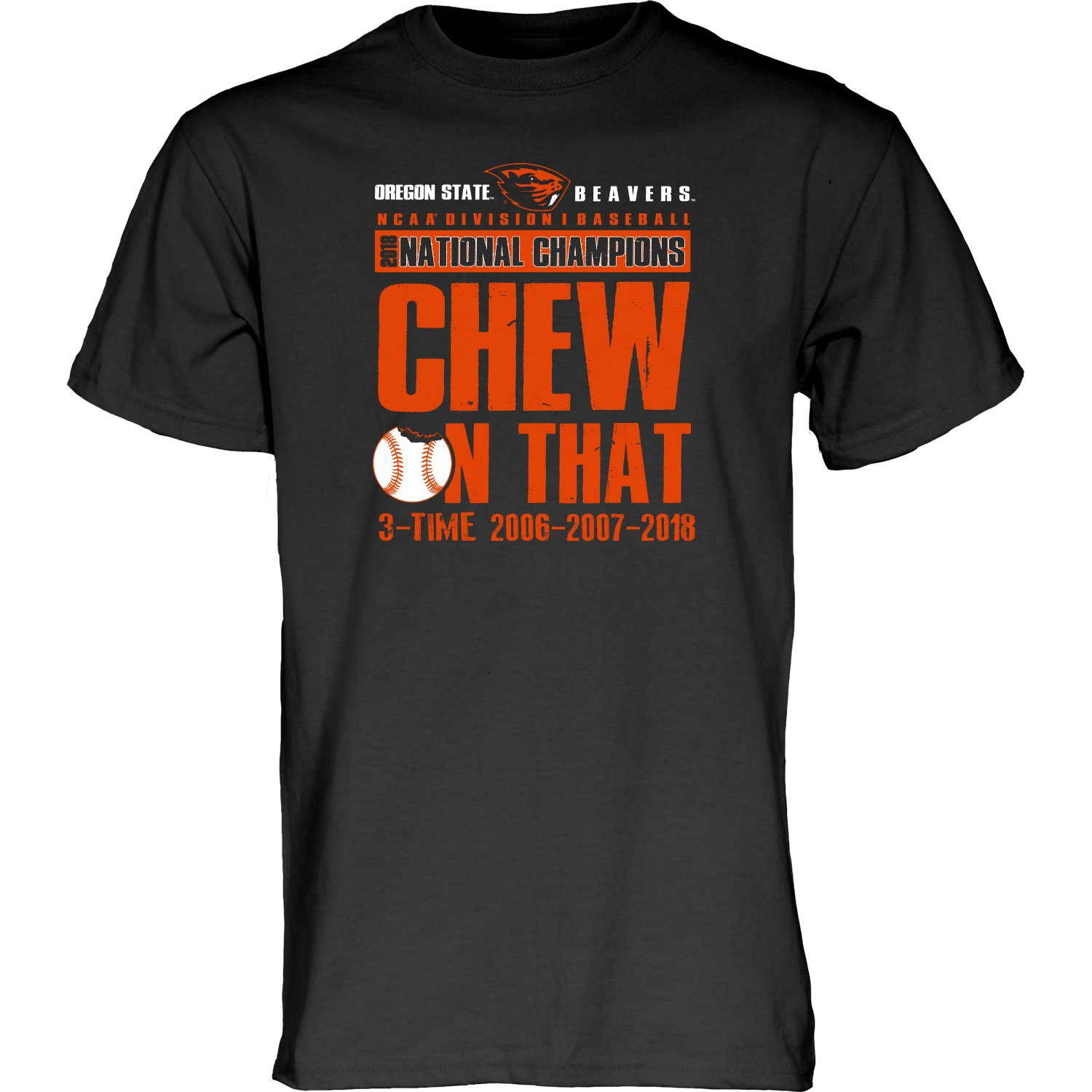 Amazon.com   Oregon State Beavers 2018 NCAA CWS Champions CHEW ON That  T-Shirt (S)   Sports   Outdoors 8f4978c0d