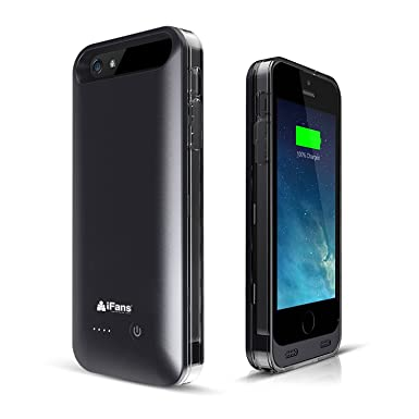new concept a433c ddf32 iPhone 5s Battery Case [Apple MFi Certified] iFans Slim Charger Case with  2400mAh Built-in Battery for iPhone SE / 5s / 5 - Black