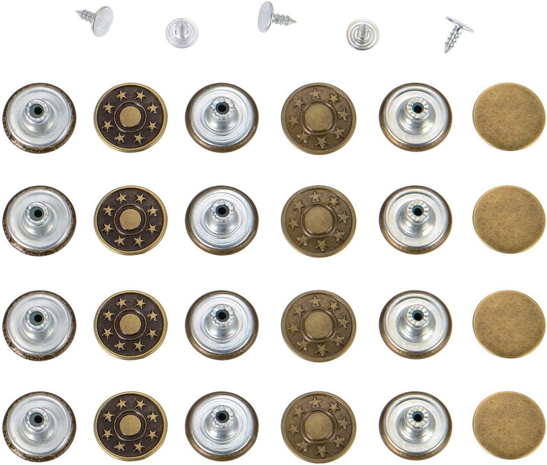 40 ensembles de boutons de jeans en m/étal Kit de remplacement avec bo/îte de rangement Boutons de rechange pour couture tricot artisanat 2 styles Bronze