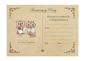 Artstore vintage owls 10th wedding anniversary invitations with artstore vintage owls 10th wedding anniversary invitations with brown kraft envelopes pack of 20 stopboris Images