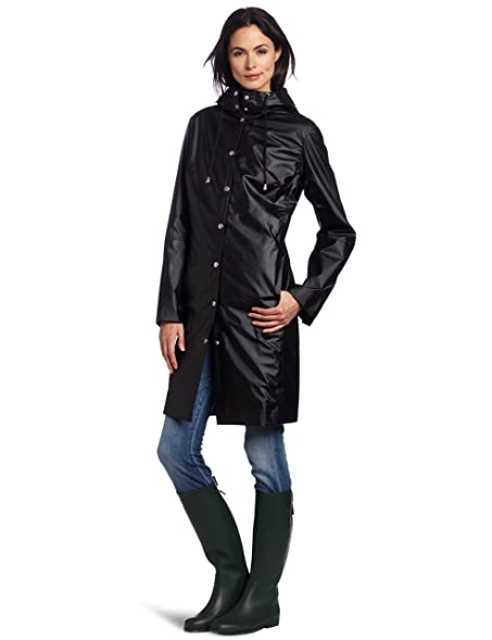 ILSE JACOBSEN Women's RAIN 01 Waterproof Rain Coat, Black, Small