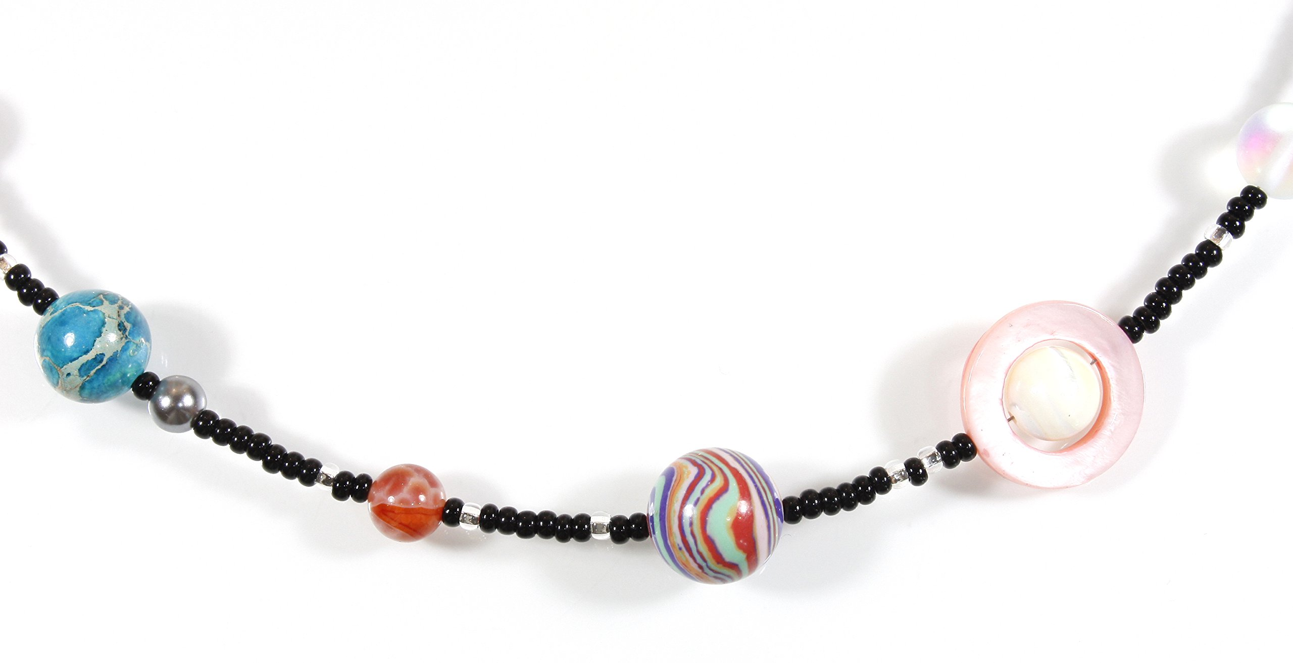 ''The Nine Planets Necklace'', the Solar System in Assorted Stones, 22 Inches Adjustable