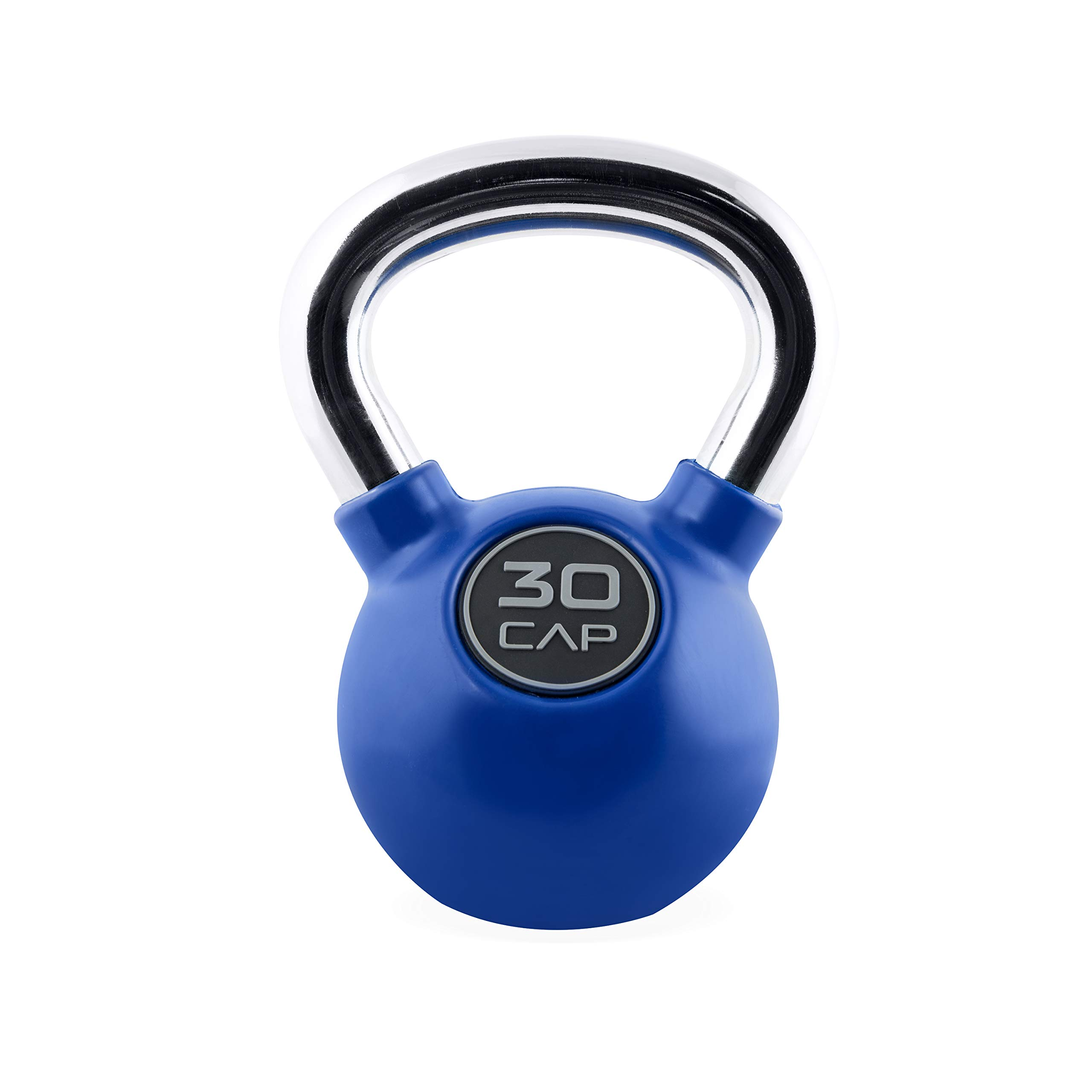 Cap Colored Rubber Coated Kettlebell with Chrome Handle, 30 lb