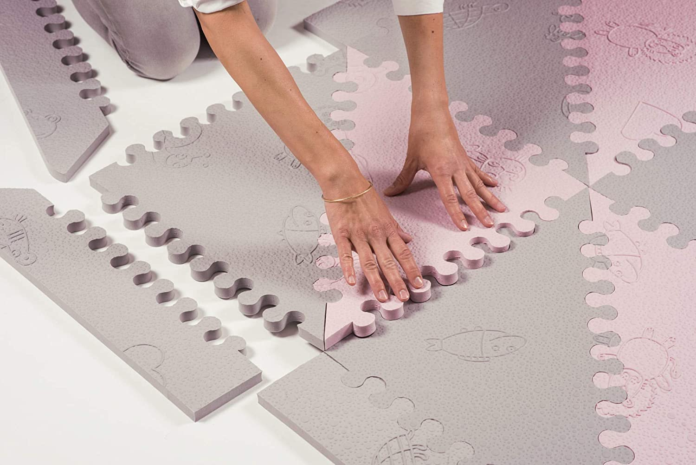 LuBabymats - Tappeto a puzzle per bambini, in gomma EVA. Pavimento extra imbottito per bambini in Beige e Grigio Grigio/Rosa