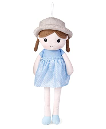 My Baby Excels Floral Print with Hat Plush Doll | Imported Premium Quality | Soft Toy for Kids of Age 1 Year and Above | Blue Colour | Size 55 cm