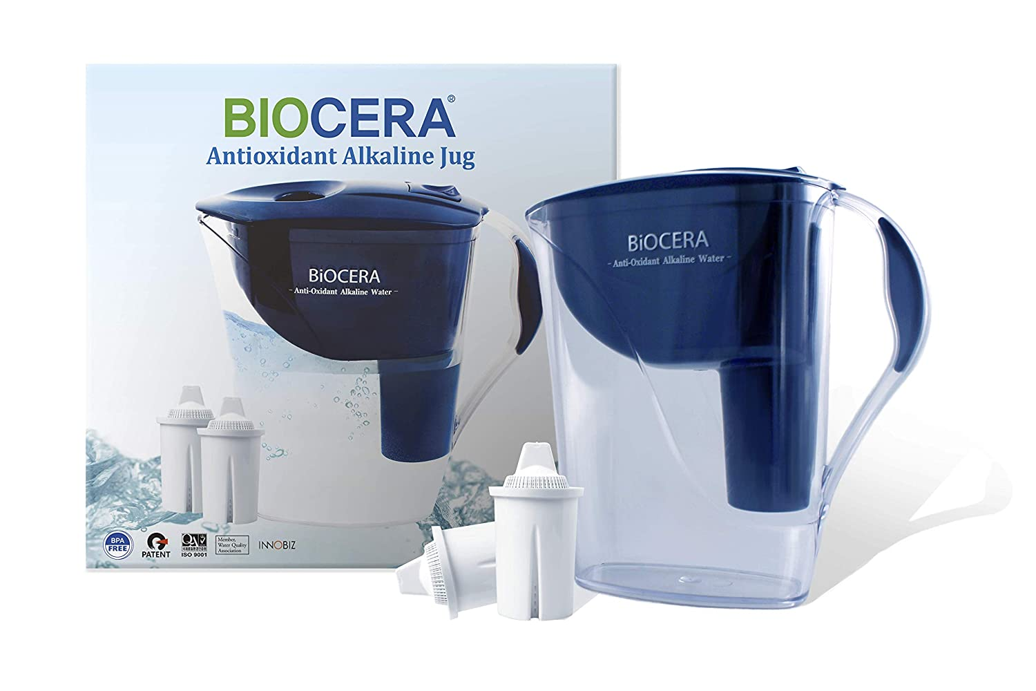 BIOCERA Alkaline Anti-Oxidant Jug Filter (Includes 2 FREE Cartridges - Lasts 4 Months) 003