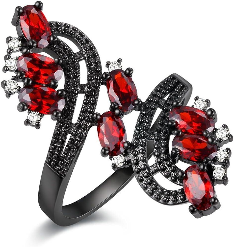Uloveido Anillo de joyería de declaración de Flor de Cristal Rojo púrpura Rosado para Mujeres niñas Anillo Abierto Negro J656