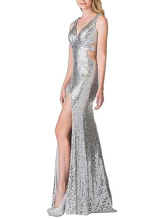 Molabridal Womens V Neck High Slit Prom Dresses 2018 Long Formal Evening Party Dresses FAG227 -