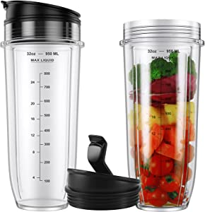 2-pack 32oz Cups with Sip & Seal Lids and Sealing Gaskets Compatible with Nutri Ninja Auto iQ Series Blenders BL480 BL481 BL490 BL640 BL682 Replacement Parts for Ninja Blender