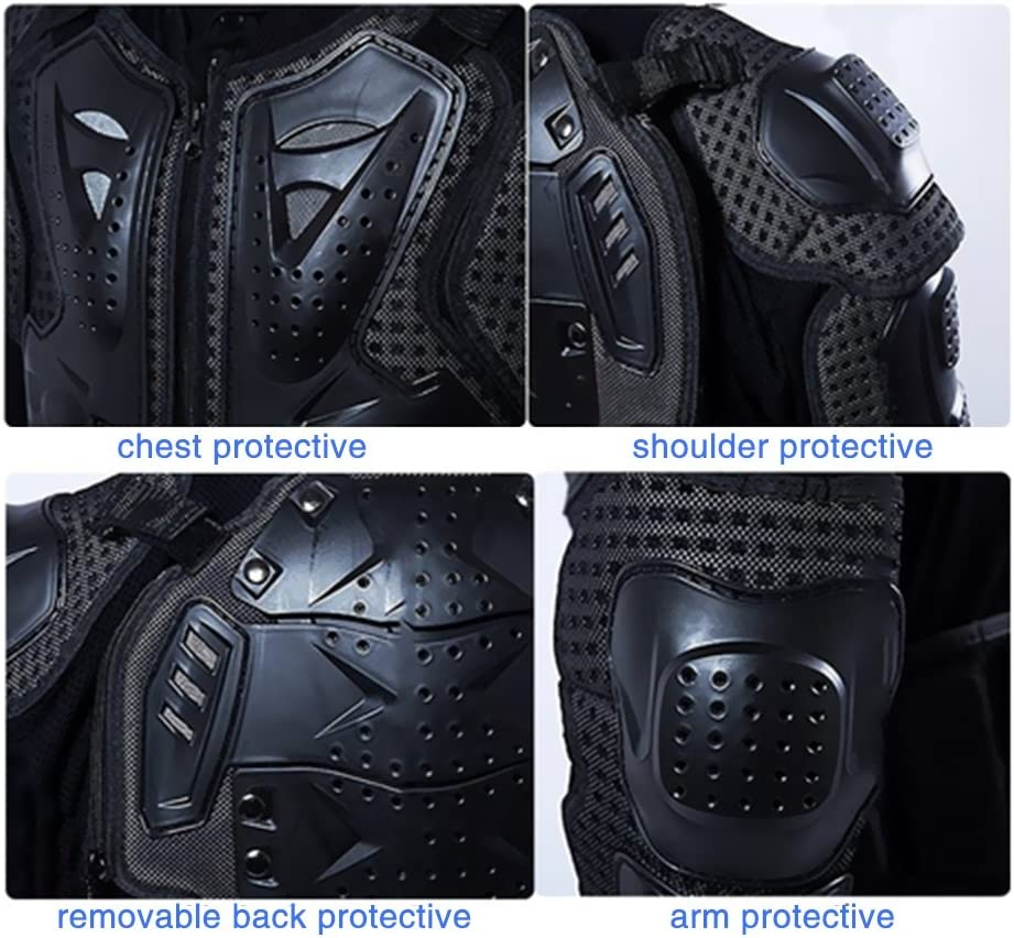 Goldfox Mens Motorbike Motorcycle Protective Body Armour Armor Jacket Guard Bike Bicycle Cycling Riding Biker Motocross Gear Black Medium