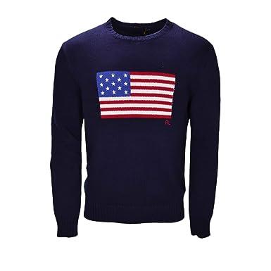 Ralph Lauren Pull col Rond Drapeau américain Bleu Marine pour Homme   Amazon.fr  Vêtements et accessoires a6598795c378