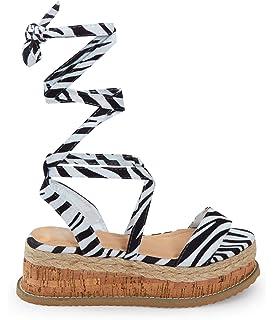 419d1fc7e49fb shelikes Womens Ladies Flat Wedge Espadrille Lace Tie Up Sandals Platform  Summer Shoes