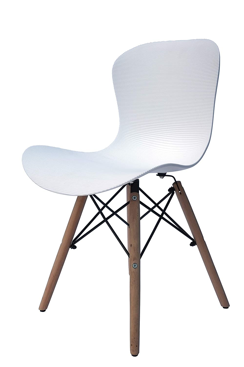 Ribbed White Inspirer Studio® Set of 6 New 17 inch SeatDepth Eames Style Side Chair with Natural Wood Legs Eiffel Dining Room Chair Lounge Chair Eiffel Legged Base Molded Plastic Seat Shell Top Side Chairs (Ribbed Black)